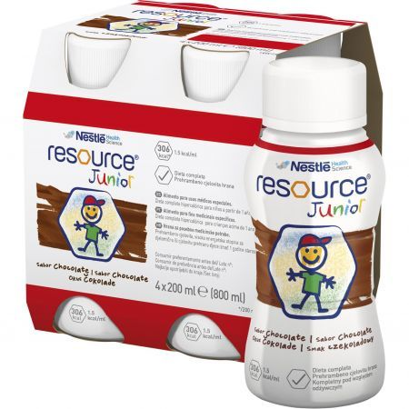 Resource Junior smak czekoladowy, 4 x 200 ml