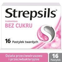 Strepsils bez cukru o smaku truskawkowym na stany zapalne gardła, 16  tabletek